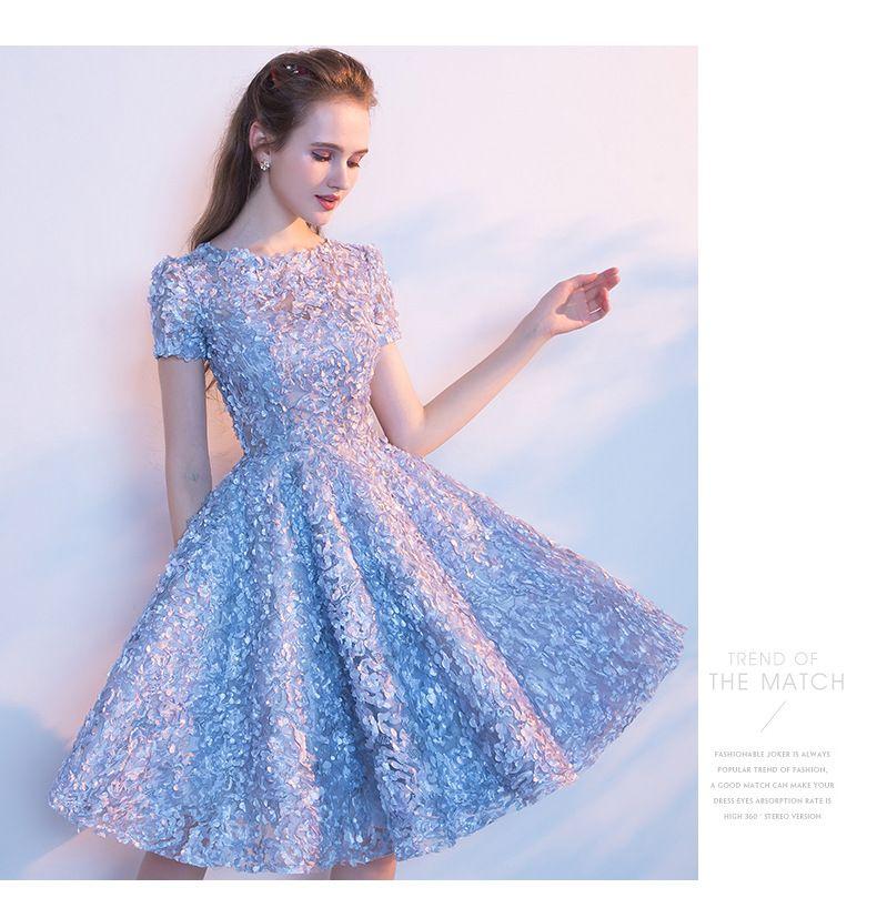 우아한 하늘색 레이스 짧은 칵테일 드레스 여름 댄스 파티 드레스 첫 친교 파티 드레스 짧은 소매 캐주얼 홈 커밍 드레스