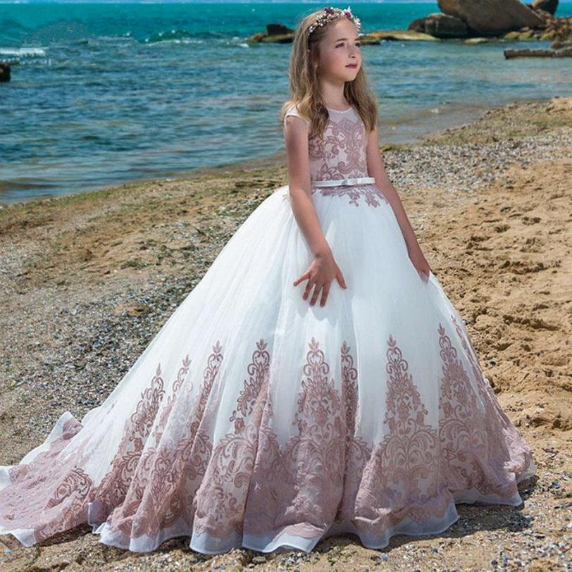 Rosa sin mangas elegante vestidos de flores niña vestidos del desfile con el tren vestidos de primera comunión para las bodas desfile