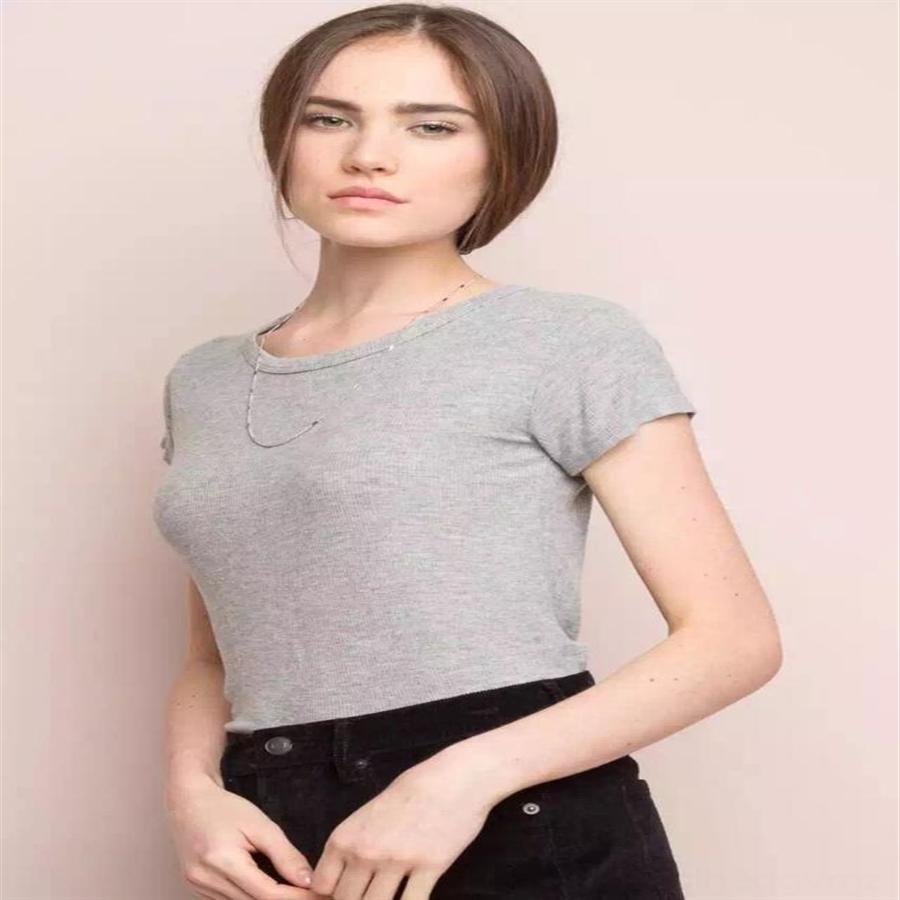 Pamuk sıkı taban sıska iplik elastik sargı göğüs büyük kısa kollu küçük yuvarlak yakalı tişört kadın