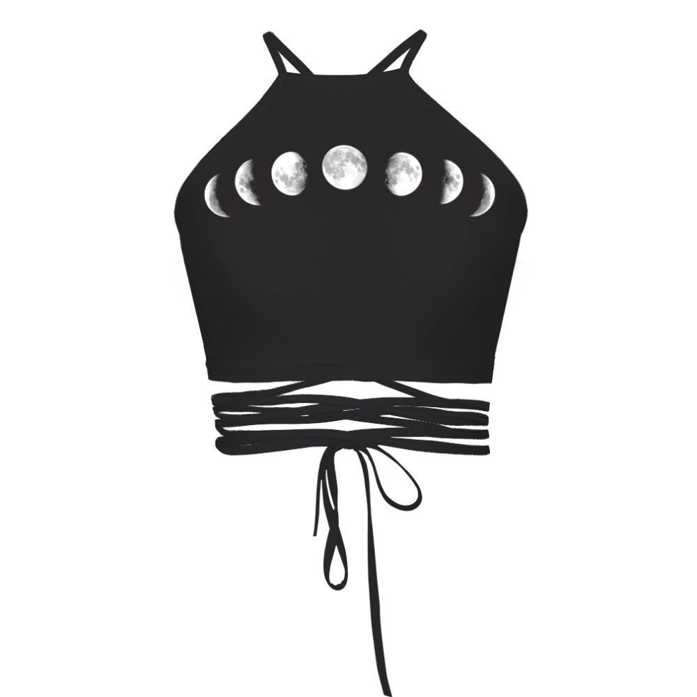여성 자르기 탑 보름달 3D 프린트 백리스 작물 쇼 얇은 붕대 감싸 인 여름 흉부 여성 Camis Top Free Size