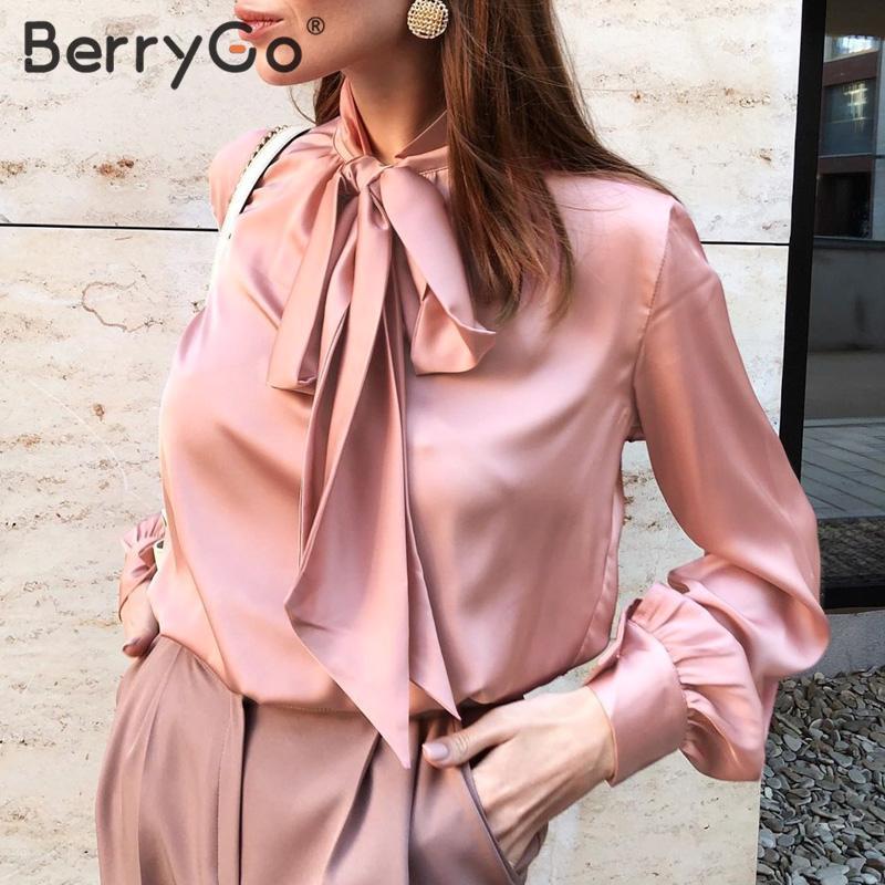 BerryGo ufficio delle signore delle donne del legame del collo della camicetta della camicia primavera estate camicette lunghe maniche elegante fiocco di usura del lavoro femminile top Blusas rosa