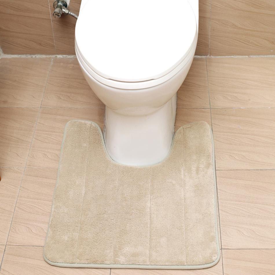 Uförmigen Stoff Badematten Weiche Streicheleinheiten Anti Slip Home Bad Teppich Dekoration Bad Wc Zubehör 40 * 60 cm