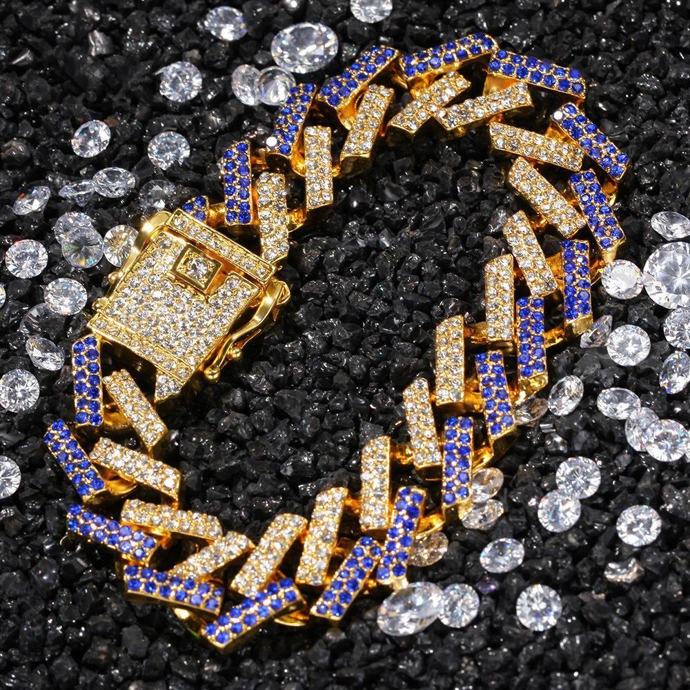 15mm 3 Colors personalized Gold Silver Hip Hop Bling Diamond Cuban Chain Bracelet for Men Blue Black White Bijoux Mens Chains Jewelry