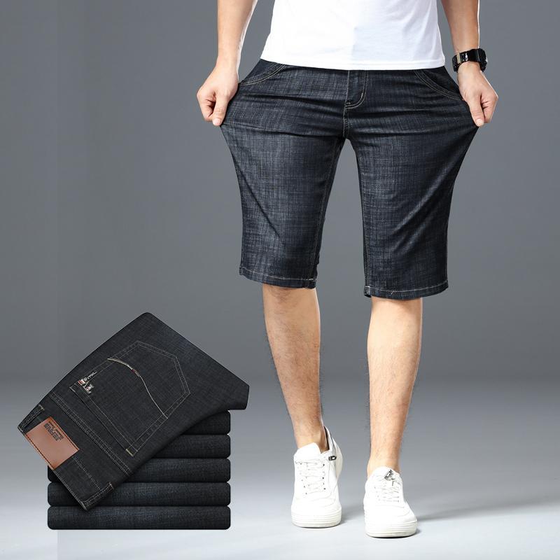 Big Size 40 42 44 46 Männer Jeans-Shorts 2020 Sommer neue Art und Weise Geschäft-elastische dünne kurze Jeans für Männer Markenkleidung