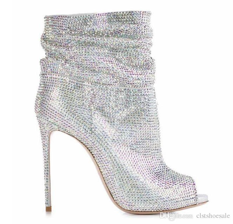 Diseño de marca Mujeres Bling Bling Rhinestone Peep Toe Stiletto Heel Botas cortas Plata Oro Negro Cristal Slip-on Botines de tacón alto