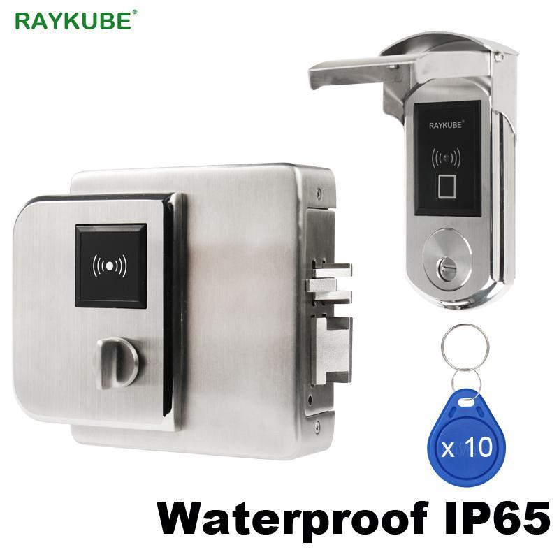 RAYKUBE étanche Serrure Fingerrint électronique avec lecteur de carte IC de vérification d'empreintes digitales Pour Outsite Porte IP65 T200325