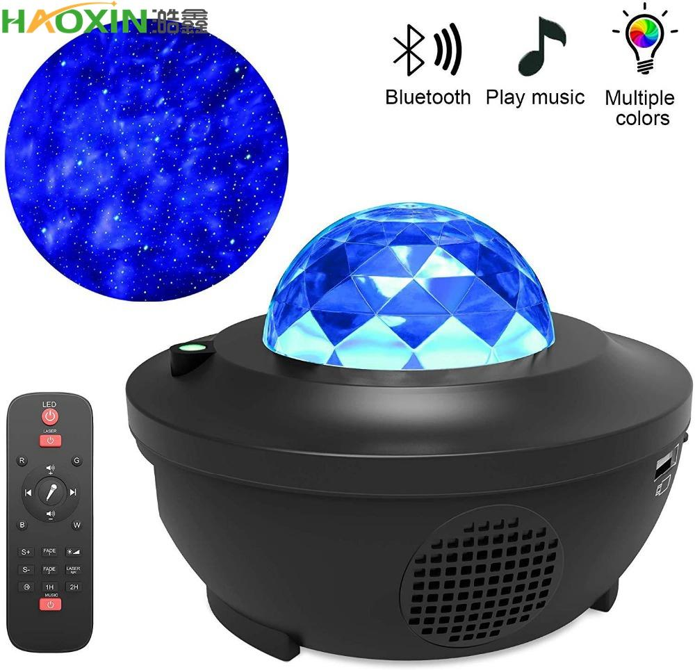 HaoXin Colorful Starry Sky Ocean Projector Bluetooth USB Voice Control Music Player LED Night Light Ocean Wave Projection Lamp Gift