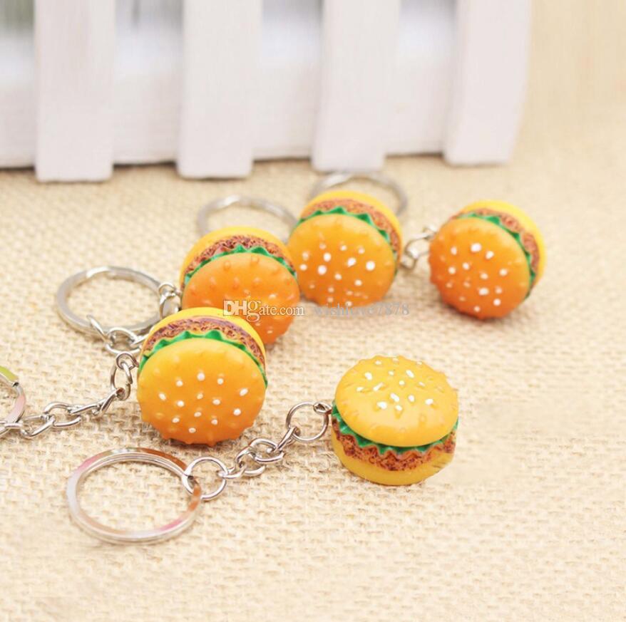 Simulation Hamburger Key Chain Creative Pendant Handmade Resin Food Car Key Ring Lovely Keychain Bag Charm Accessories gift Free Shipping