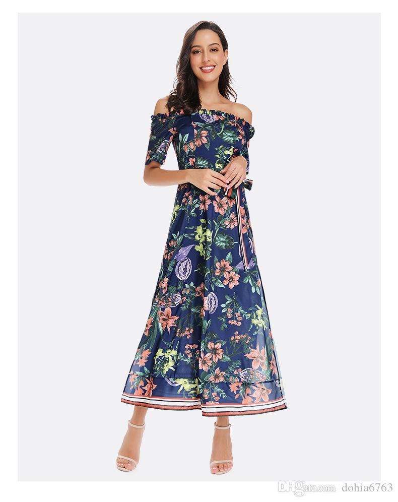 Şifon baskılı elbise kelime yaka kemer tatil elbise kadın Avrupa ve Amerikan patlama modelleri Avrupa ve Amerika Birleşik Devletleri e