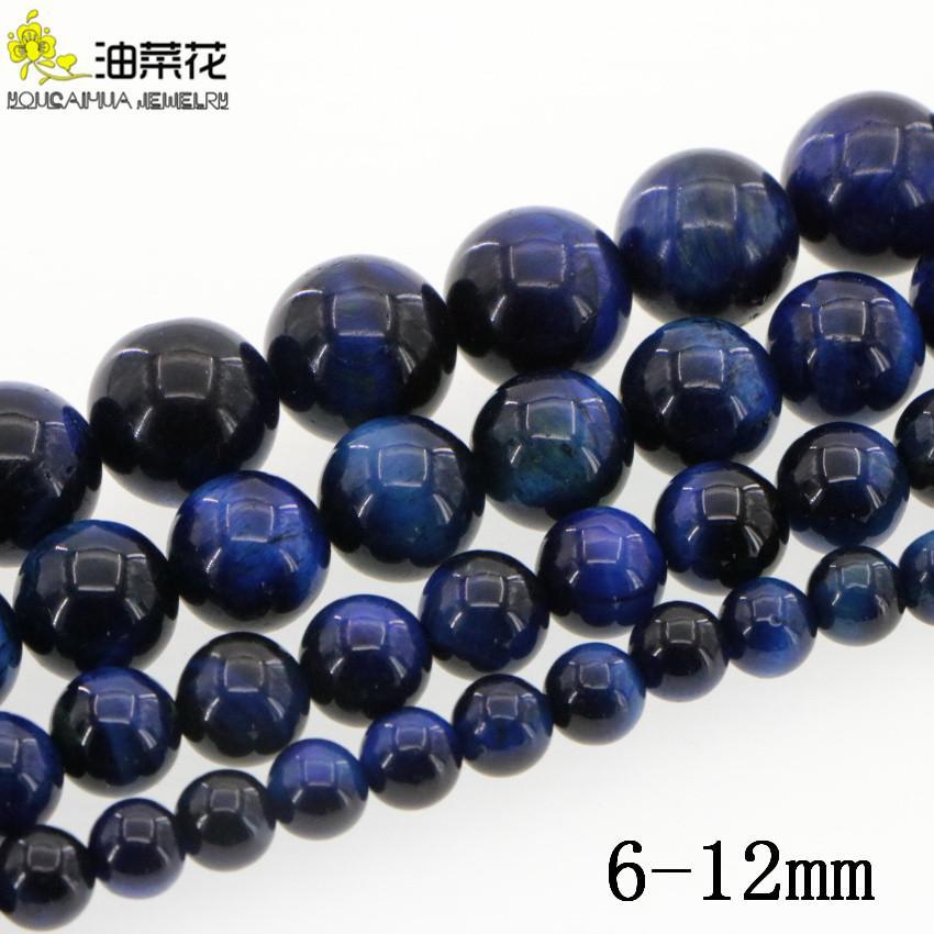 Naturstein 6-12mm Blue Tiger Stein Gems DIY runde lose Korn Frau Geschenk für Halsketten-Armband Make-Zubehör-Großhandelspreis