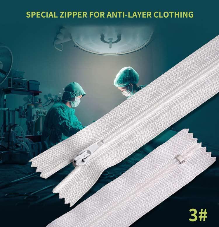 3 # nylon C / E cerca final de dos corredera de bloqueo P / L perno deslizante ropa de protección de la cremallera 80 cm de largo