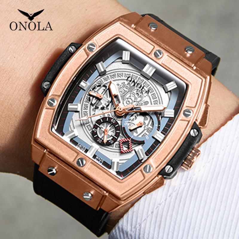 adam için ONOLA marka lüks klasik kuvars seyretmek adam 2019 lumious tonneau kare büyük kol saati iş rahat disigner izle