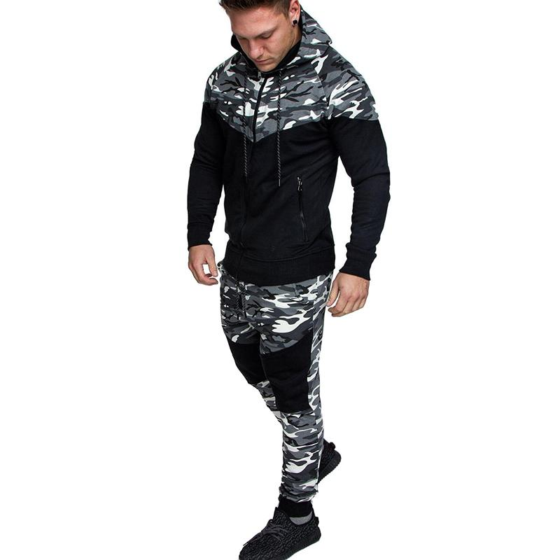 Fashion Mens Tracksuit Classic Camo Blocks Men's Casual Slim Fit Set Hoodies Pullover With Casual Jogger Pants Suits Homme Sportsuit