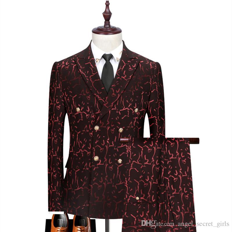 Suit Men Slim clássico Impresso trespassado Set Suit 3 peças Femininos (jaqueta + calça + Vest) Prom Banquetes ternos formal dos homens