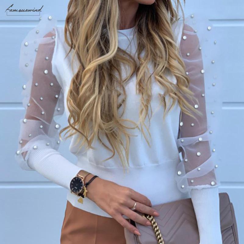 Mesh Womens camicette di pizzo Puff modo del manicotto camicia elegante 2020 della molla di autunno Donna Solid Pearl rilievo Tops signore camicetta