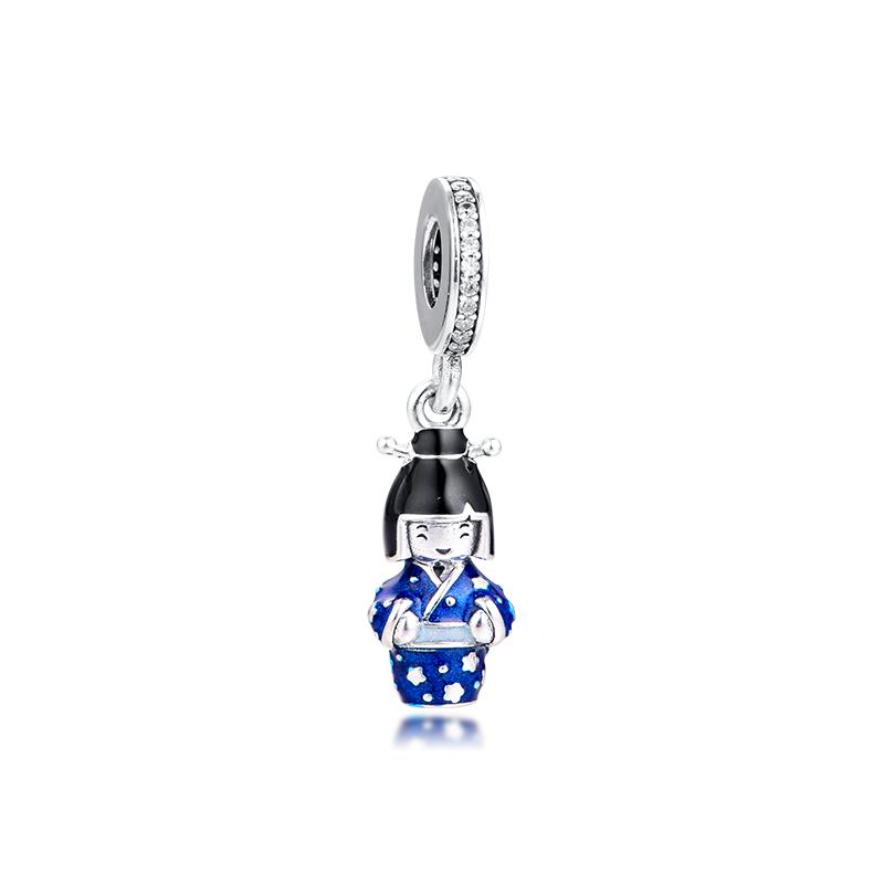 2020 New Spring Japanese Doll in Blue Kimono Dangle Charms 925 sterling silver Pendant charm Fits Original Bracelets for Women DIY Jewelry