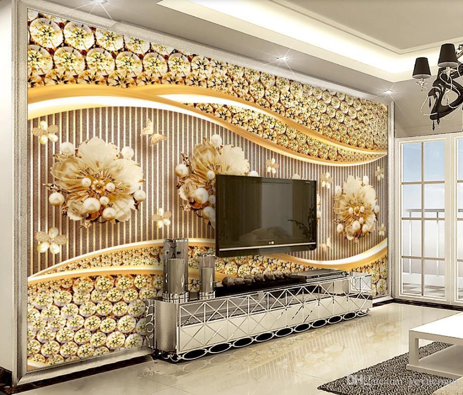 высокое качество настенная роспись 3d цветок ювелирные изделия 3D стереоскопический нетканый материал обои гостиная спальня фото настенная роспись обои 3d фон