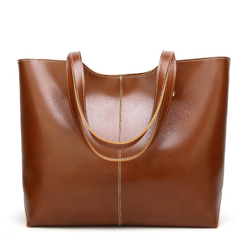 HBP Womens 지갑 핸드백 오일 왁스 가죽 대용량 totes 가방 캐주얼 여성 어깨 가방