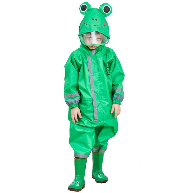 3-9 Years Old Children Cartoon Frog Rainwear Waterproof Hooded Raincoat Outwear Camp Poncho Kids Rain Jumpsuit