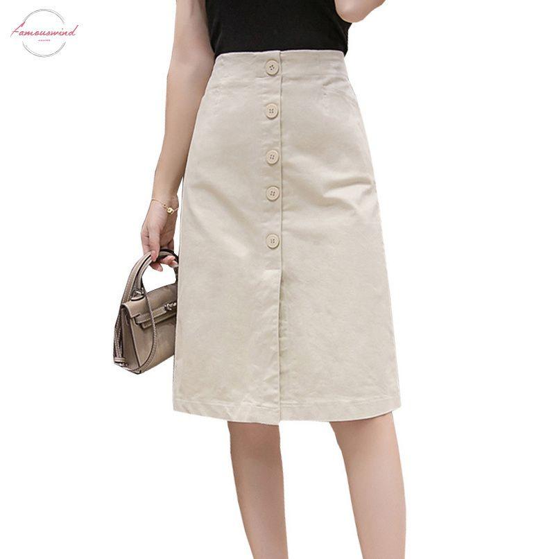 Saia da escola do vintage Faldas Mujer Moda Verão 2020 joelho lápis Saias Mulheres Botão cintura alta Black White Dividir