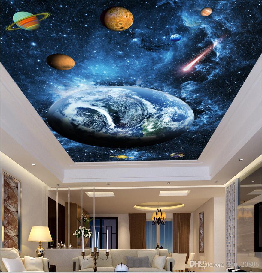 3d murais de teto papel de parede personalizado foto azul fantasia céu estrelado planeta sala de estar decoração de casa 3d murais de parede papel de parede para paredes 3 d