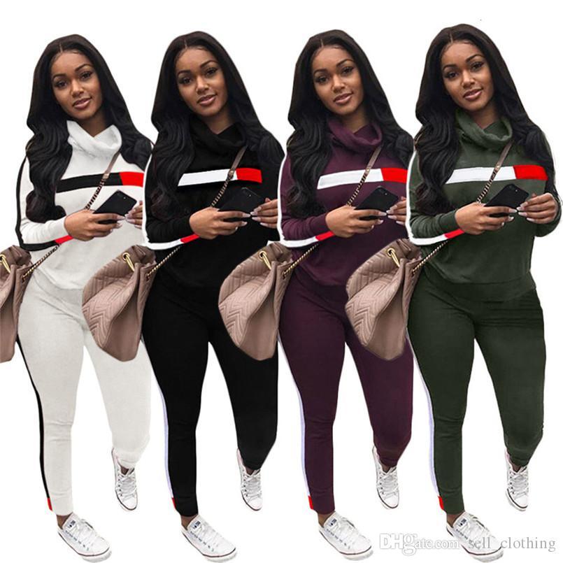 Женщины 2 шт набор толстовки брюки дизайнер полосатого костюм мода лоскутной одежда пуловеры фуфайка лосина падать Jogger костюма 1876
