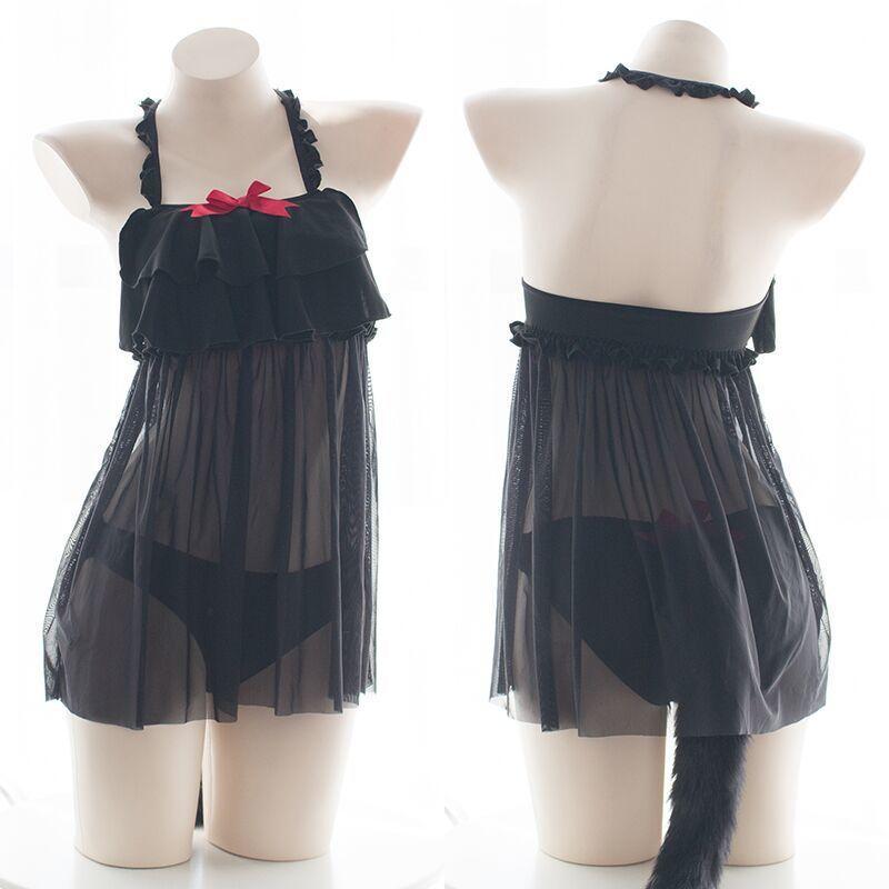Japanese Cat Girls Nets yarn Ruffle Sling Nightdress Sexy Bows Black Cat Hollow Out Pajamas Panties With Tail Sleepwear Cosplay