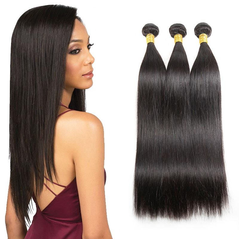 4 Bundles Straight Hair Weaves Brazilian Human Virgin Hair Extensions Kinky Straight Best Quality Unprocessed Brazilian Straight Hair