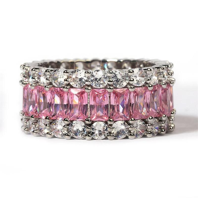 2020 Nueva Llegada Joyería de Lujo 925 Sterling Silver Princess Cut Pink Sapphire CZ Diamond Gemstones Promise Women Band Band Ring Regalo