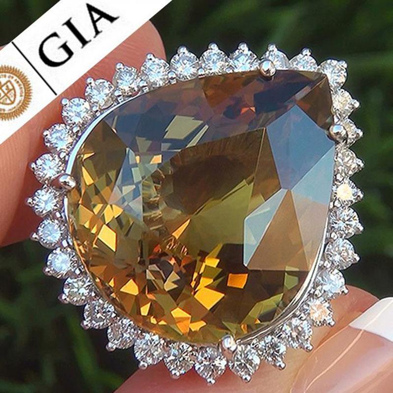 Kadınlar Takı Anel Anillos Mujer Z5X854 için Charm Sarı Big Water Drop Taş Yüzük Zirkon Kristal Alyans