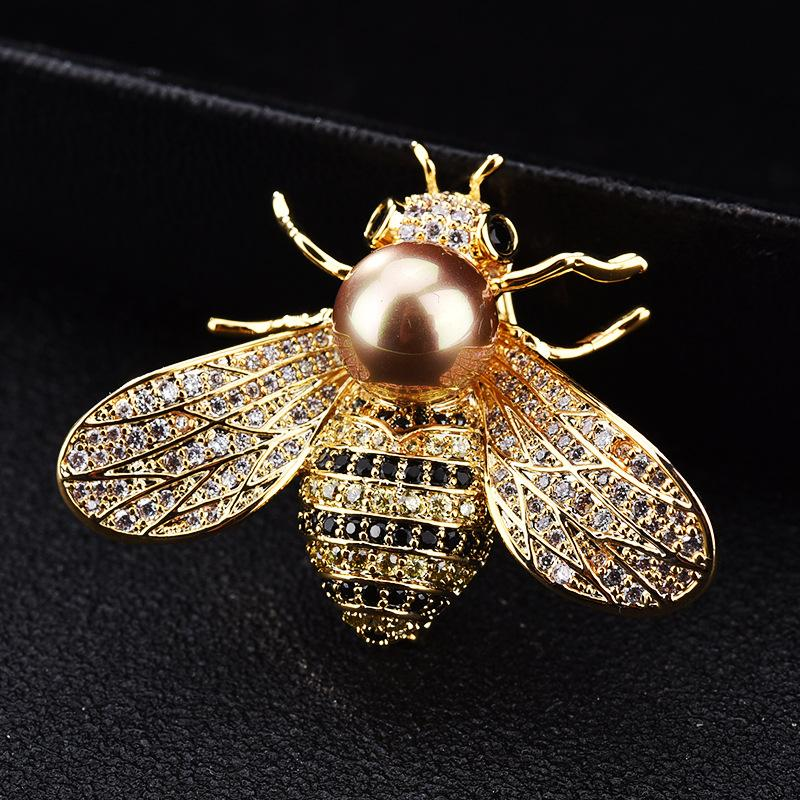 Women/'s Delicate Little Bee Insect Crystal Rhinestone Collar Brooch Pin Jewelry