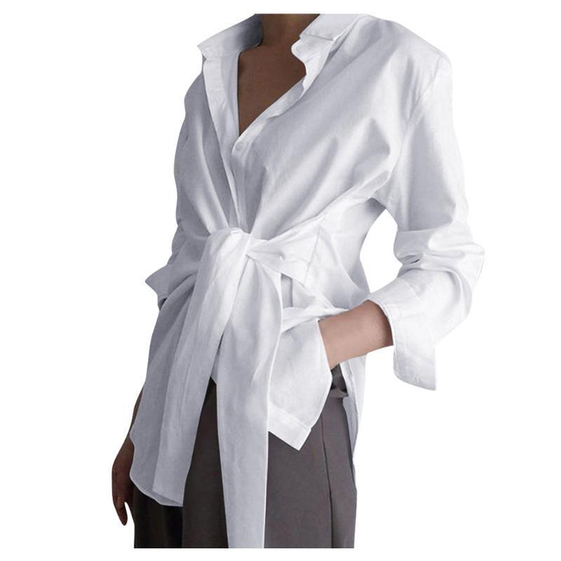 패션 화이트 블랙 블루 느슨한 셔츠 여성 캐주얼 긴 소매 블라우스 2020 봄 여름 타이 업 플러스 사이즈 3XL 블라우스가 Blusas 탑