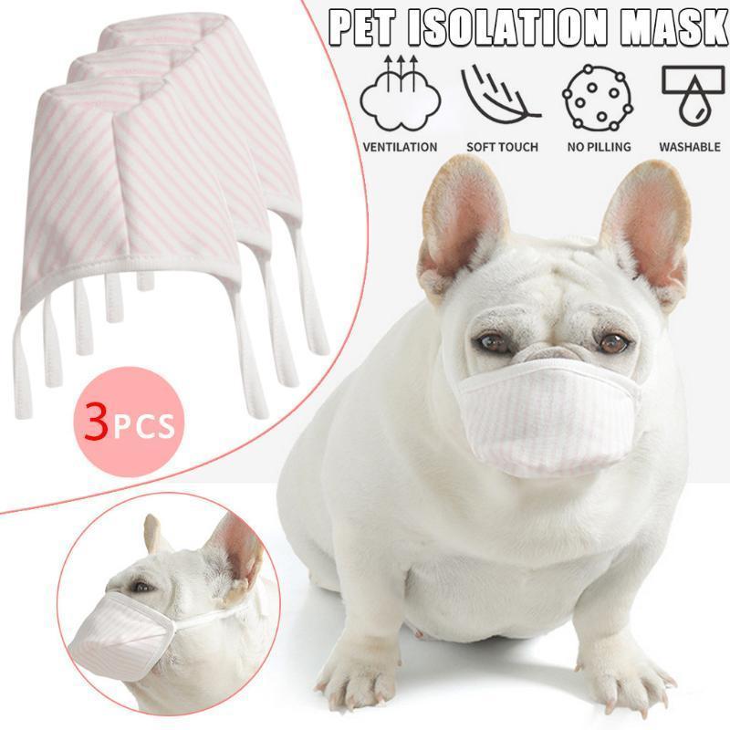 3PCS / 로트 개 소프트 페이스면 입 애완 동물 호흡기 필터 안티 먼지 마스 짖는 애완 동물 제품 액세서리 XD23229 마스크