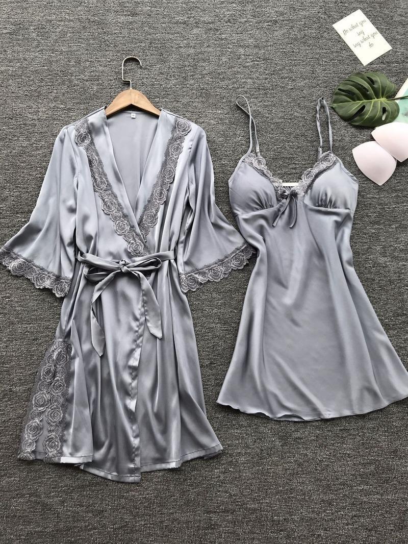 Frauen-reizvolle Spitze Nachtwäsche Wäsche-Spitze-Pyjama Robe Set Unterwäsche Nachthemd Damen-Zuhause-Kleidung Y200425