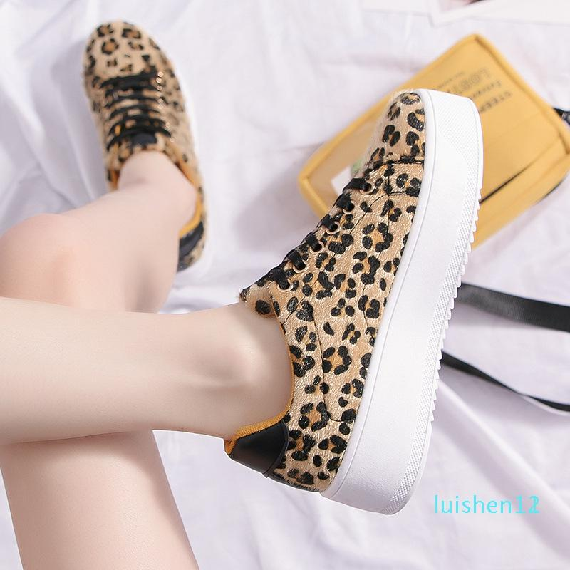 2019 Fashion Shoe Leopard Print Women Platform Shoes Lace Up Breathable Durable Ladies Girls Love Daily Casual Board Shoe Flat Shoes