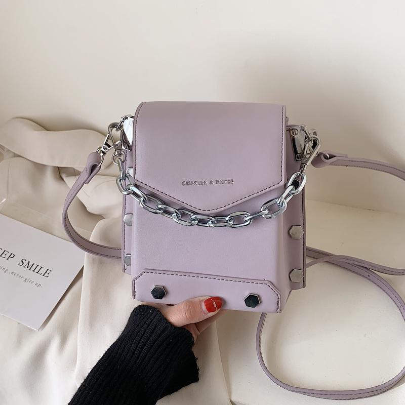 NEW Original Design Summer Fashion Chain Shoulder Bag & Elegant Rivet Box Bag Crossbody Width 17cm Height 17cm Thickness 8cm