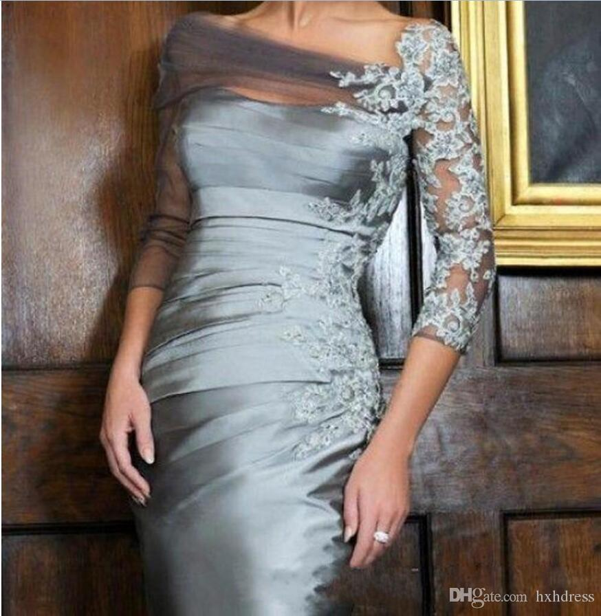 2020 New Distinctive Silver Sheath Mother of the Bride Dresses Off-shoulder Lace 3/4 Long Sleeves Short Knee-length evening Gowns 052
