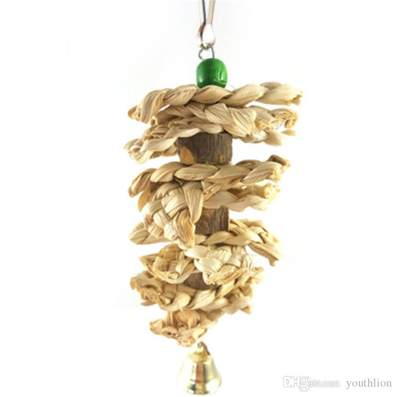 Bird Parrot Toy Natural Wooden Grass Chewing Bite Hanging Cage Swing Climb Chew Toys with Bell Pet Tool