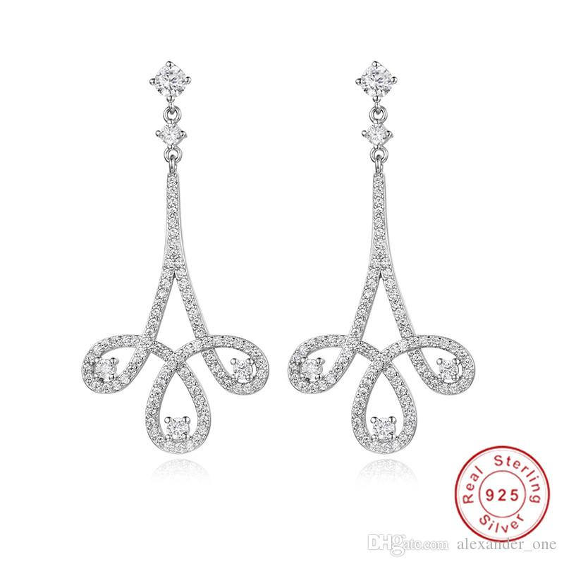 Brand 925 Sterling Silver Earrings Luxury pave SONA diamond Zircon Dangle wedding Earrings For Women Classic Engagement Jewelry