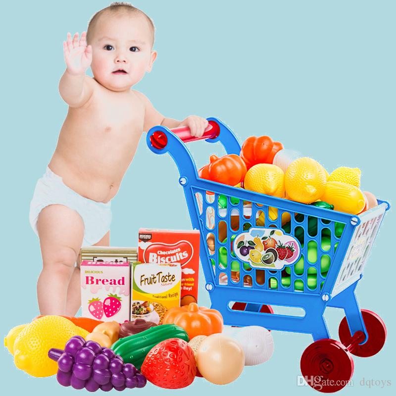 Children's Pretend Play Supermarket Toy Shopping Cart Trolley Home Toy with Fruits and Vegetables Free Shipping
