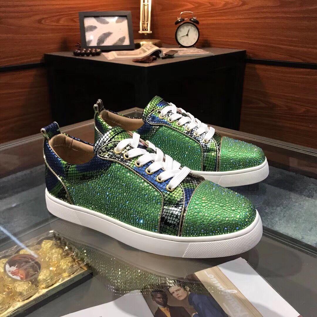 Envío gratis moda zapatos casuales a estrenar correr verde serpiente pitón cristal strass zapatos low top vienen con tamaño de caja 38-44 a estrenar