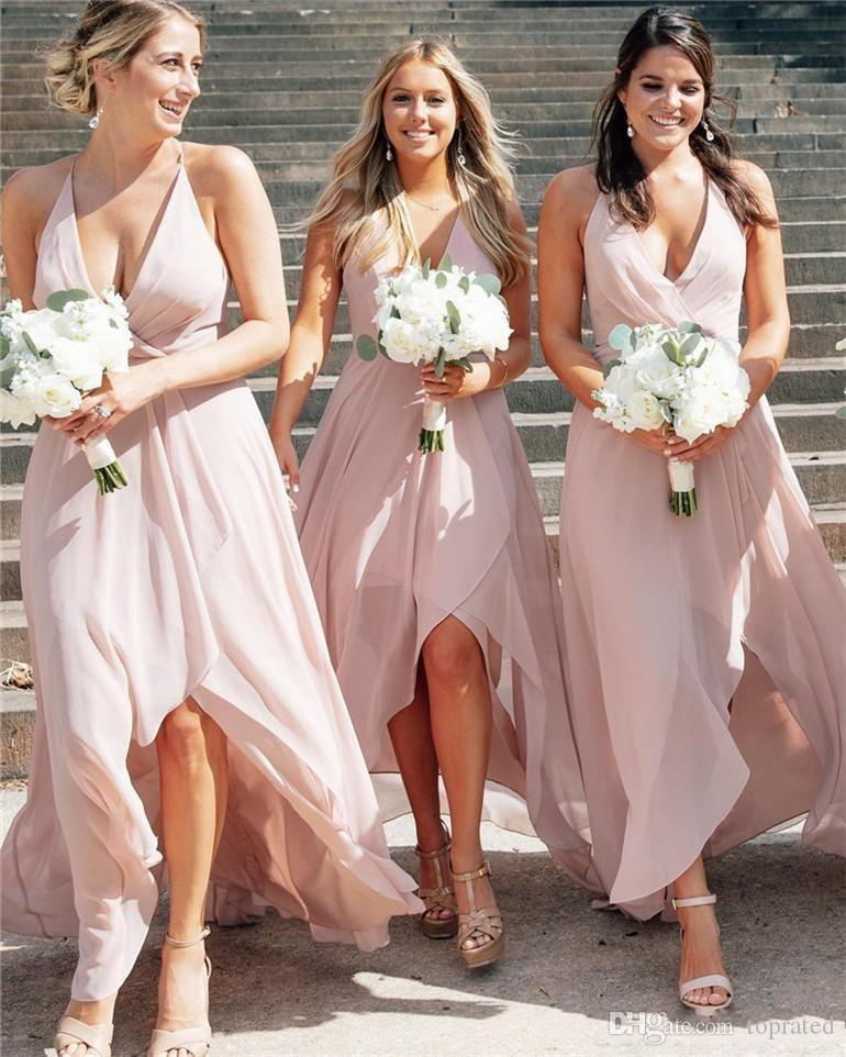 2020 Элегантный краснежный розовый Halter Chiffon Beach Beachmaid платья Elagant Hi-Lo Honal of Change Change Long Forman Prom Вечерние платья