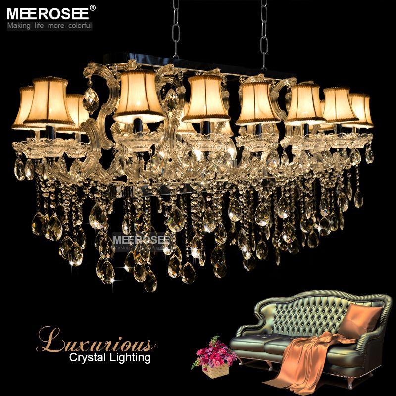 brilho retângulo candelabro de cristal luminária Modern Light Pendant para Hotel Sala 18 Luzes com abajur de transporte rápido