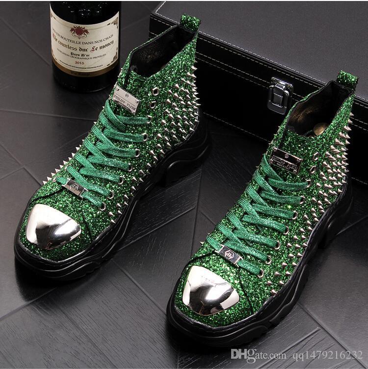 Yeni erkek yüksek ayakkabı moda gelgit erkek ayakkabıları gençlik payetler perçinler erkek botları yüksek makosenler 38-43