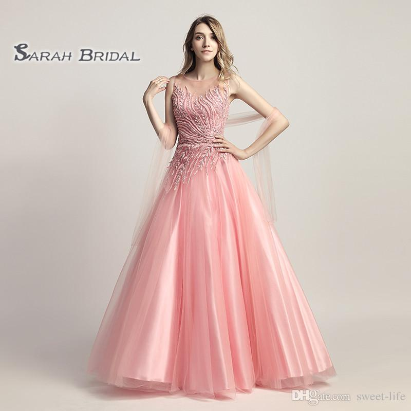 A-Line Beading Turquoise Tulle Pink Prom Party Dress Elegant Backless Vestidos De Festa Evening Occasion Backless Quinceanera Gown LX425