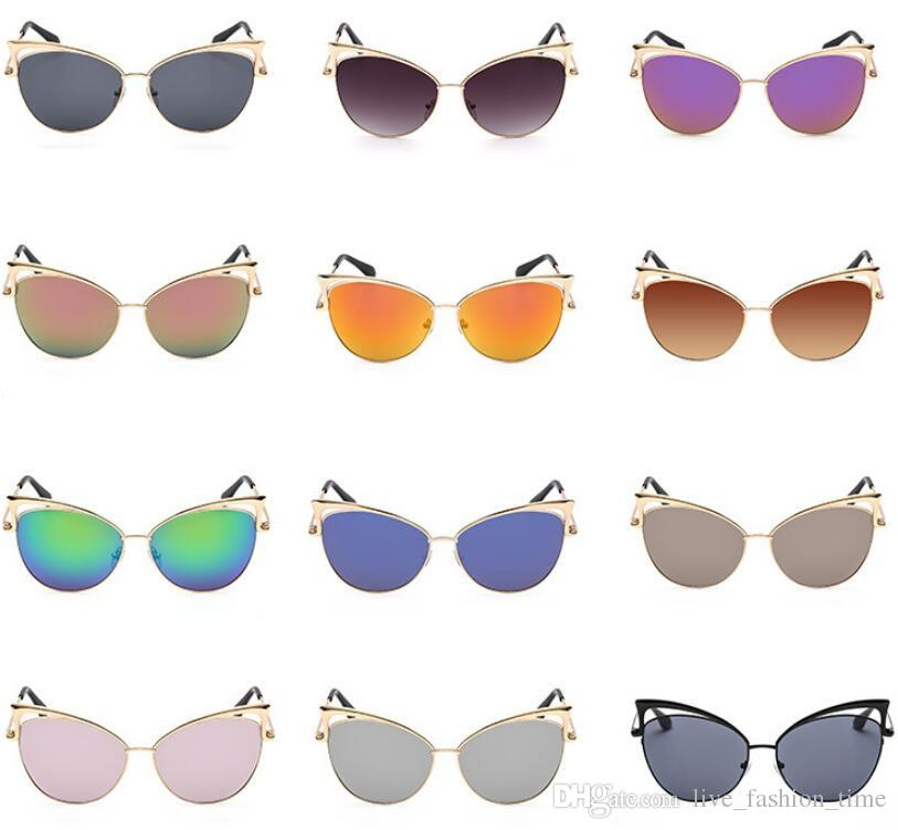 Sexy Ladies Cateye Sunglasses Women Vintage Gradient Retro Twin-Beams Cat Eye Sun Glasses Shades Female Eyewear Driving Sun Glasses UV400