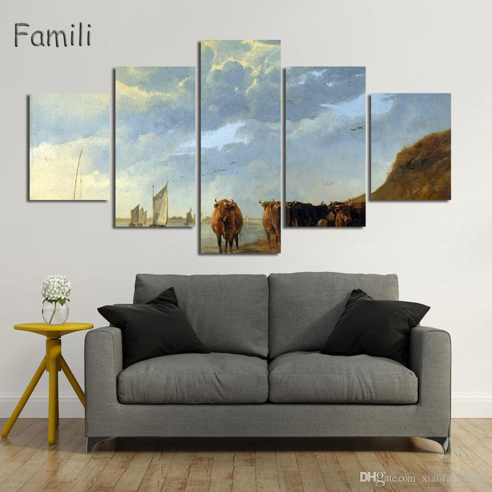 5Panels Modern Wall Art Home Decoration Printed Oil Painting Picture No Frame Canvas Prints Beautiful Landscape Canvas Painting