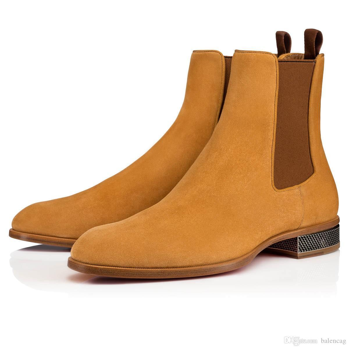 Super qualità 2019 Automne Hiver Bottes Marque Designers Red Bottom hommes Bottines Samson Orlato hommes robe de mariée Flats en cuir Chaussures