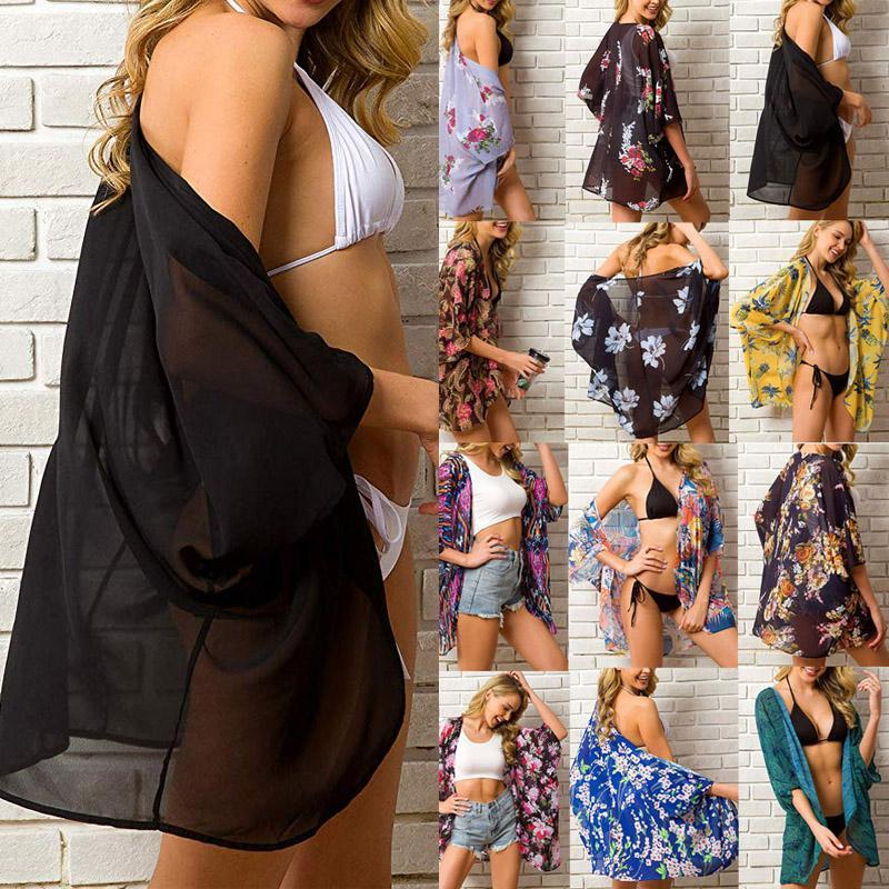 2020 mujeres del verano de gasa floral del kimono de la playa de Cardigan cubierta escarpada arriba el traje de blusa larga camisetas de los tops femeninos