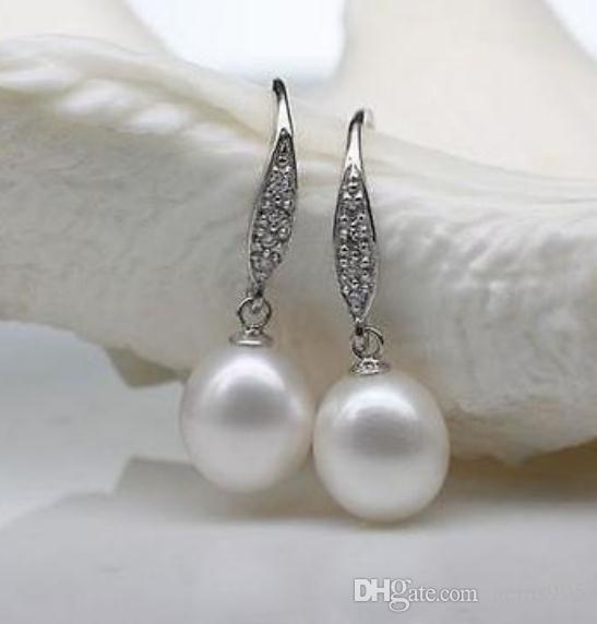 HOT SELL PERFECT ROUND SÜDSEE 10-11mm WHITE PEARL EARRING 925 SILBER